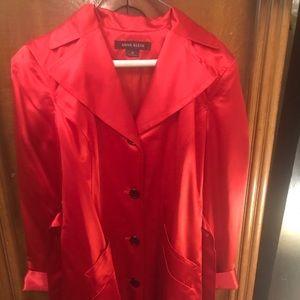 Anne Klein Red Silk Trench Style Coat